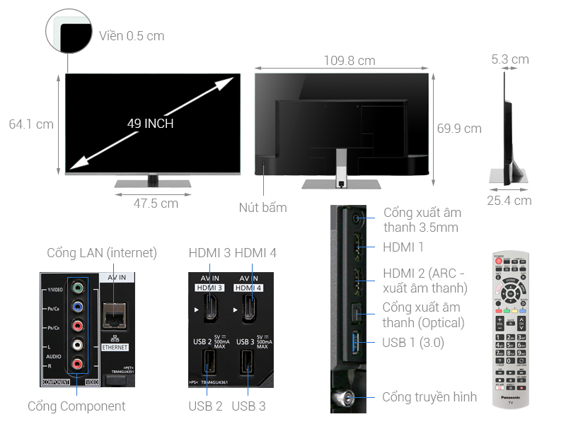 Thông số kỹ thuật Smart Tivi Panasonic 4K 49 inch TH-49FX800V
