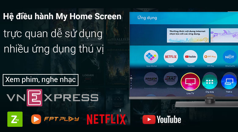 Hệ điều hành My Home Screen trên Smart Tivi Panasonic 4K 49 inch TH-49FX800V