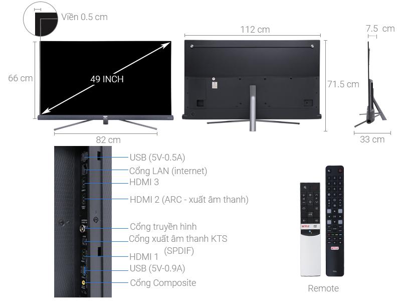 Thông số kỹ thuật Android Tivi TCL 4K 49 inch L49C6-UF