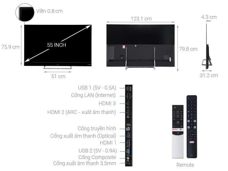 Thông số kỹ thuật Android Tivi QLED TCL 55 inch L55X4