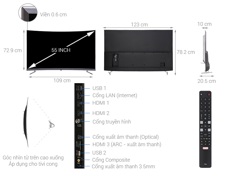 Thông số kỹ thuật Smart Tivi Cong TCL 4K 55 inch L55P5-UC