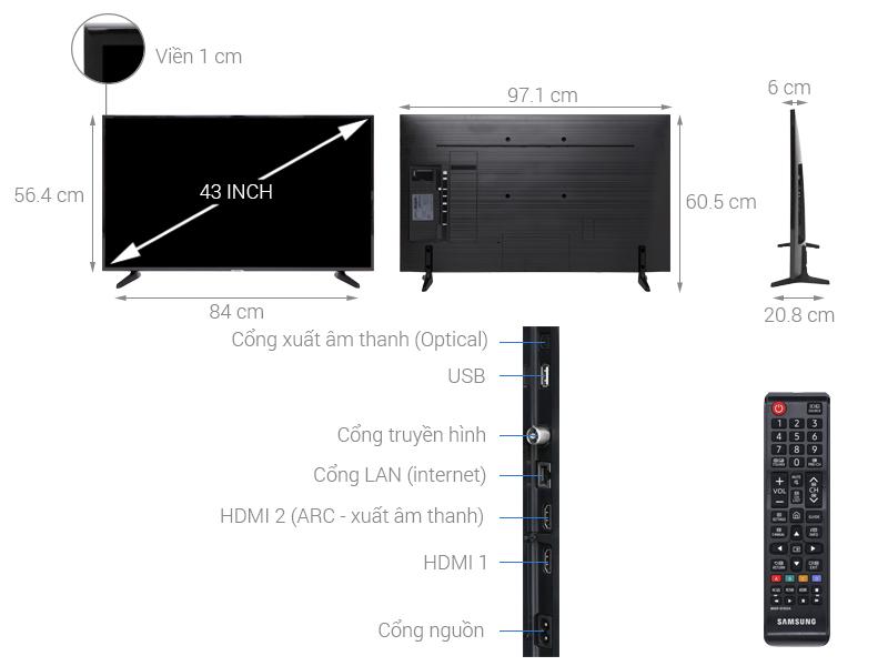 Thông số kỹ thuật Smart Tivi Samsung 4K 43 inch UA43NU7090