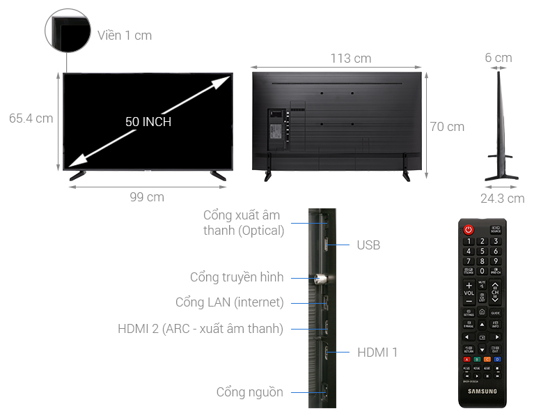 Thông số kỹ thuật Smart Tivi Samsung 4K 50 inch UA50NU7090