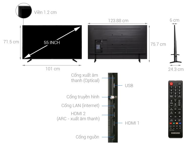 Thông số kỹ thuật Smart Tivi Samsung 4K 55 inch UA55NU7090