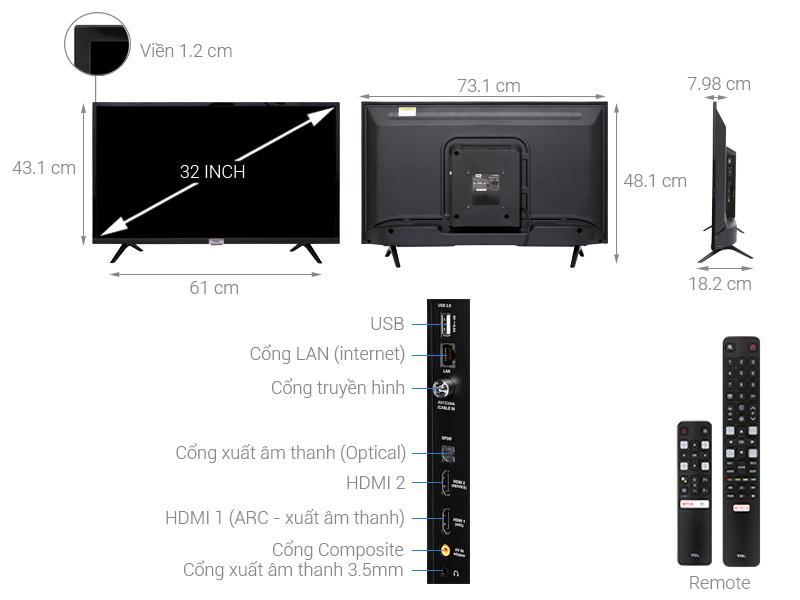 Thông số kỹ thuật Android Tivi TCL 32 inch 32S6500