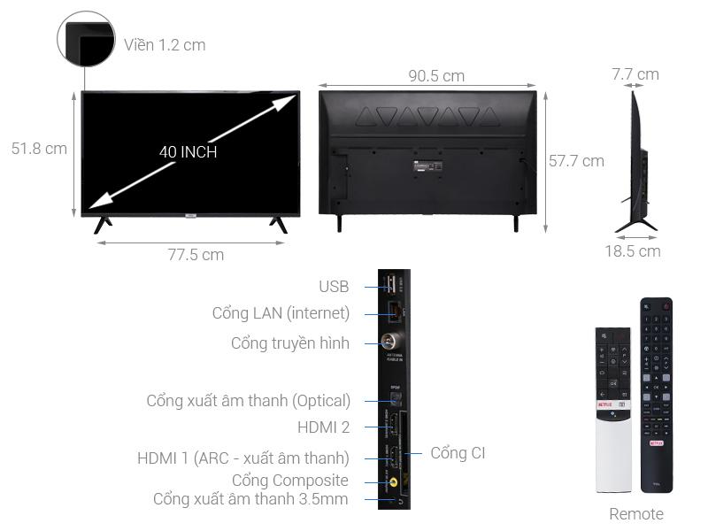 Thông số kỹ thuật Android Tivi TCL 40 inch 40S6500