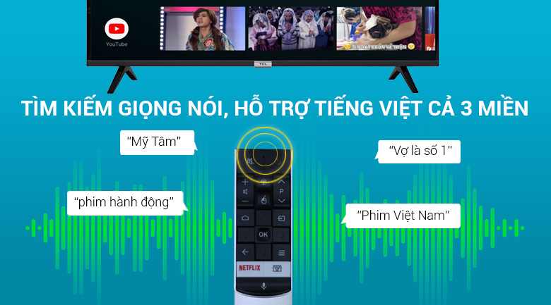 Tìm kiếm giọng nói bằng tiếng Việt - Android Tivi TCL 43 inch 43S6500