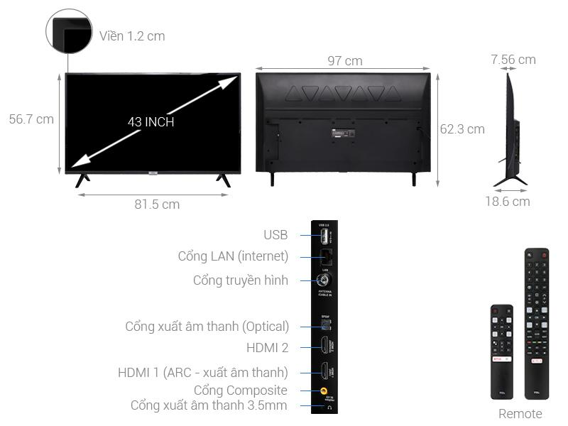 Thông số kỹ thuật Android Tivi TCL 43 inch L43S6500