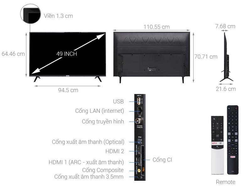 Thông số kỹ thuật Android Tivi TCL 49 inch L49S6500