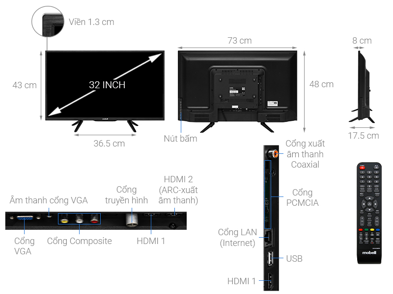Thông số kỹ thuật Smart Tivi Mobell 32 inch 32W600A