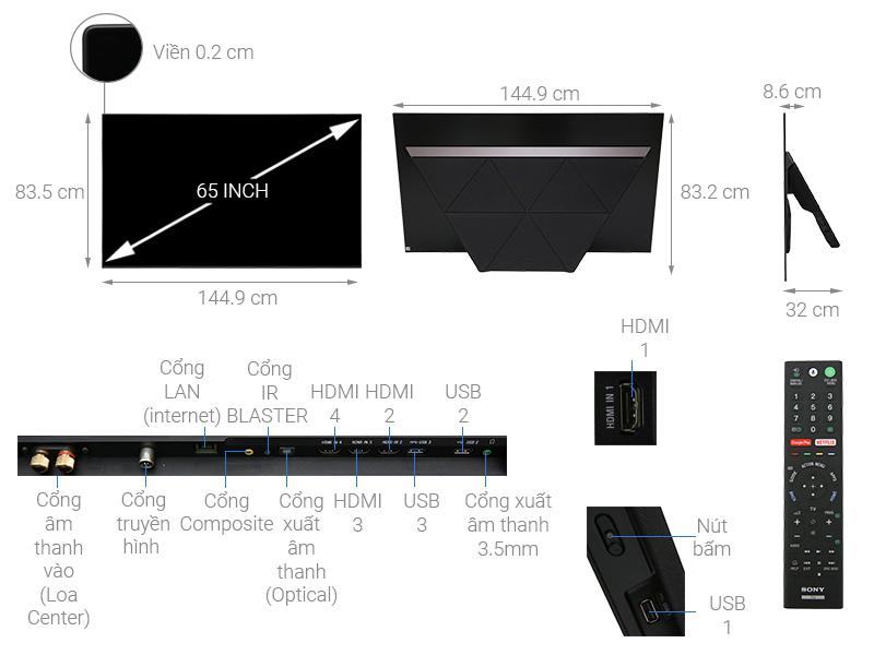 Thông số kỹ thuật Android Tivi OLED Sony 4K 65 inch KD-65A9F