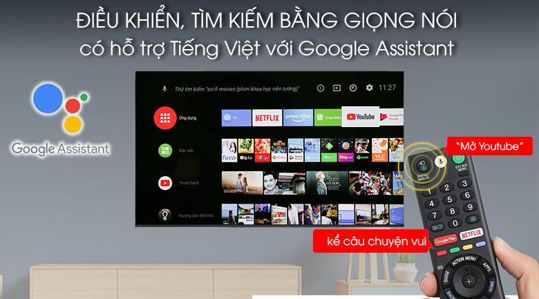 Điều khiển, tìm kiếm bằng giọng nói bằng tiếng Việt 3 miền - Android Tivi OLED Sony 4K 65 inch KD-65A9F