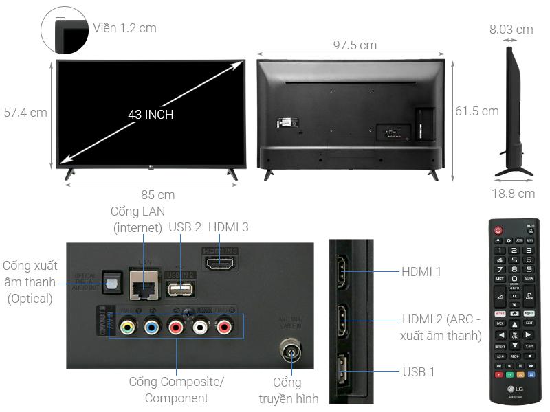 Thông số kỹ thuật Smart Tivi LG 4K 43 inch 43UK6200PTA