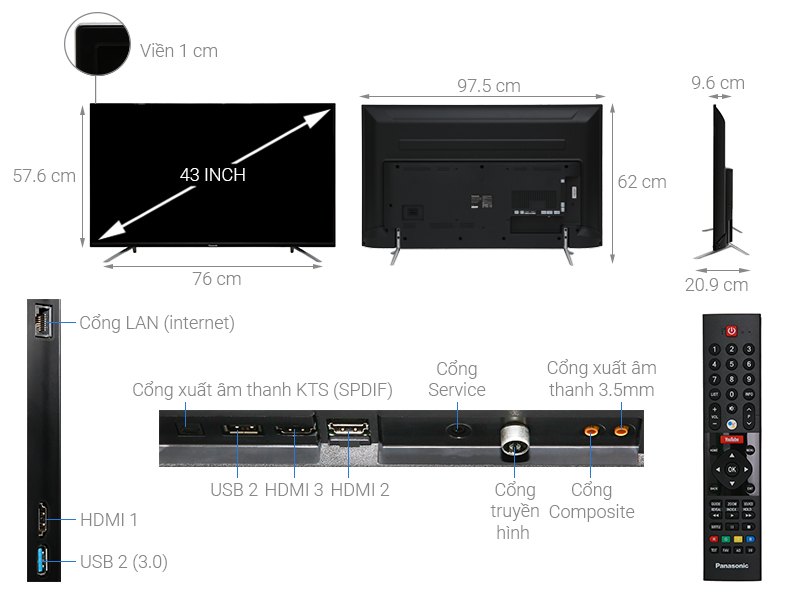 Thông số kỹ thuật Android Tivi Panasonic 4K 43 inch 43FX550V