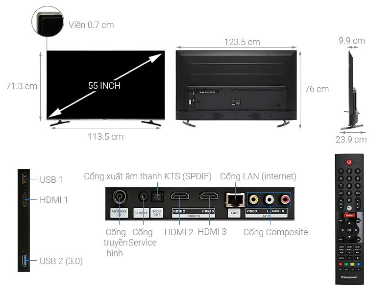 Thông số kỹ thuật Android Tivi Panasonic 4K 55 inch 55FX650V