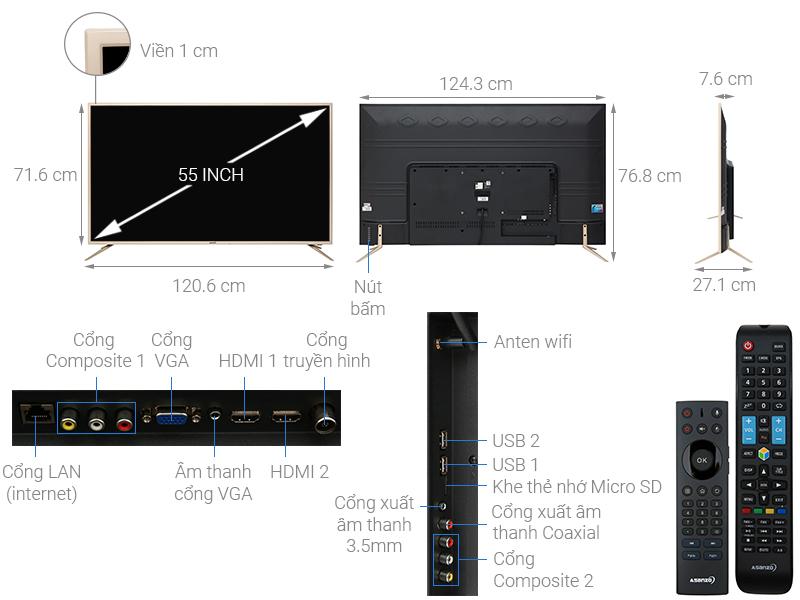 Thông số kỹ thuật Smart Tivi Asanzo 55 inch 55US6