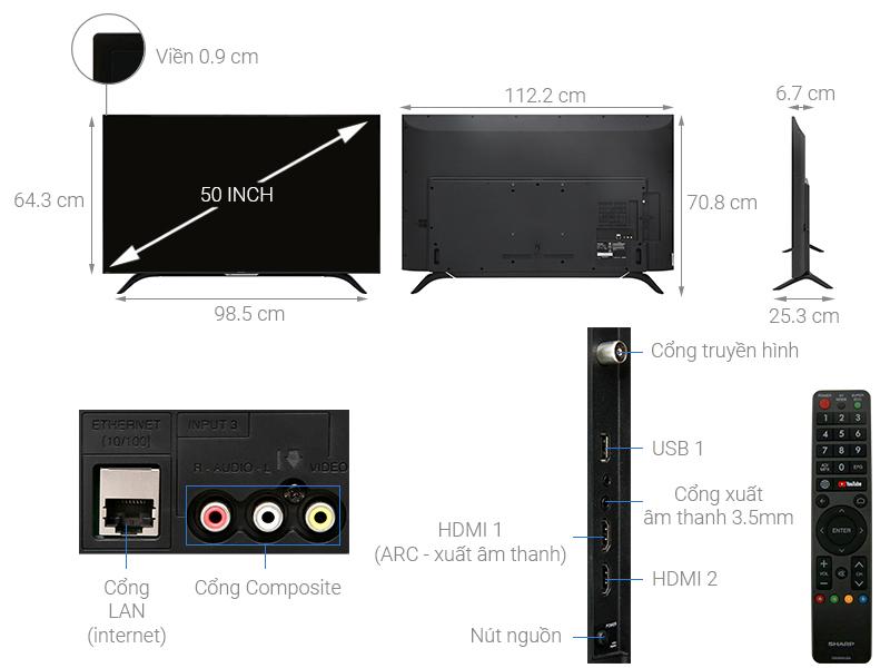 Thông số kỹ thuật Smart Tivi Sharp 50 inch 2T-C50AE1X