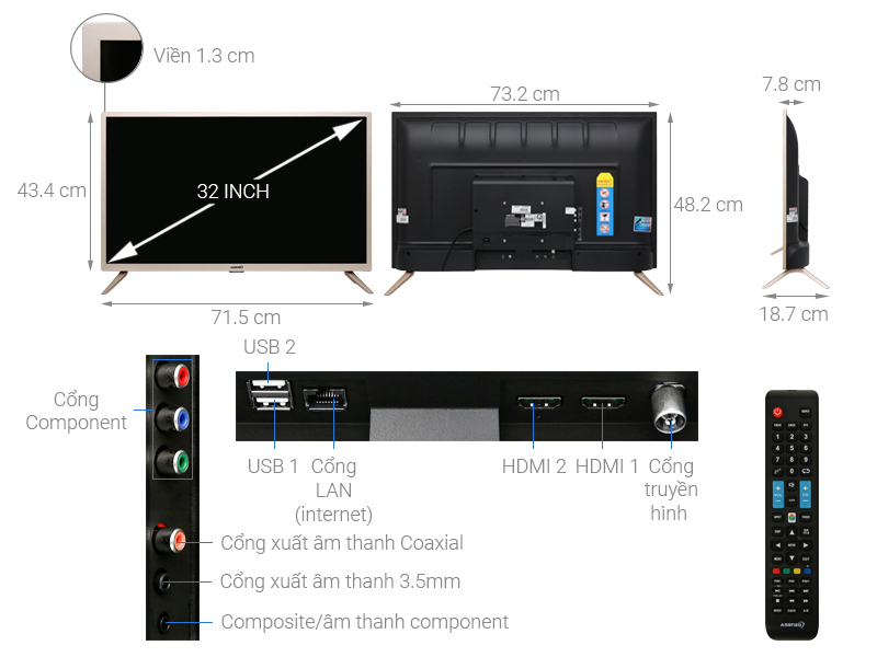 Thông số kỹ thuật Smart Tivi Asanzo 32 inch 32AS100