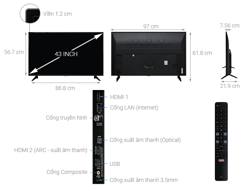 Thông số kỹ thuật Smart Tivi TCL 4K 43 inch L43P65-UF