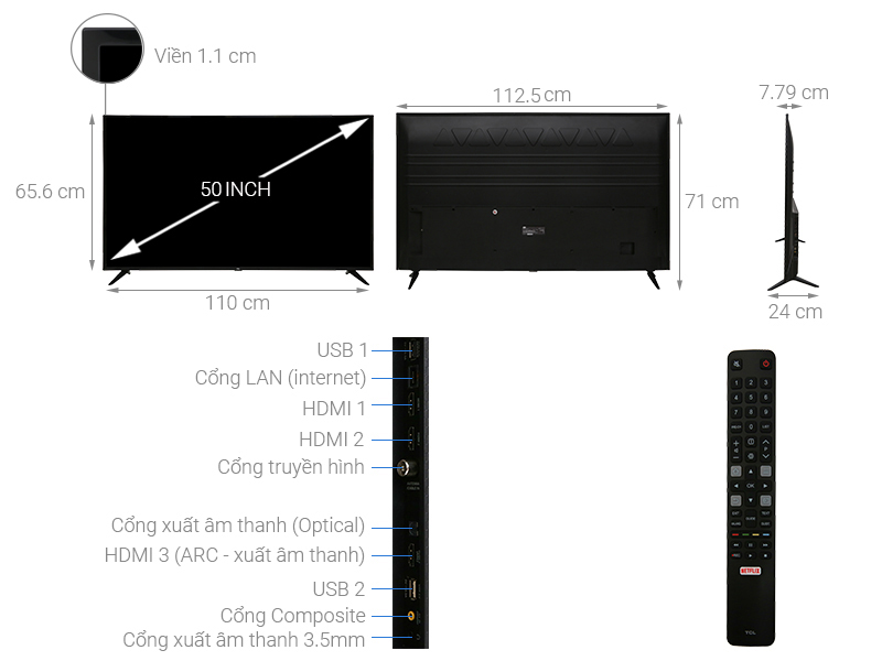 Thông số kỹ thuật Smart Tivi TCL 4K 50 inch L50P65-UF