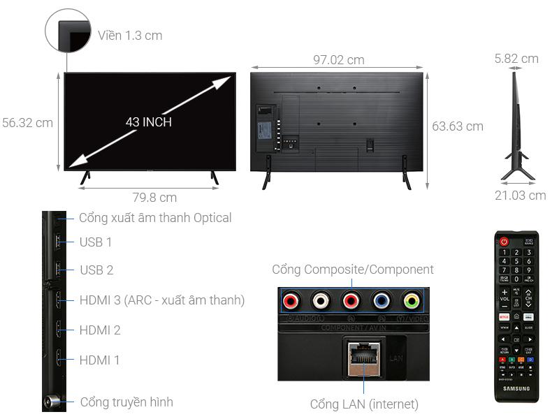 Thông số kỹ thuật Smart Tivi Samsung 4K 43 inch UA43RU7100