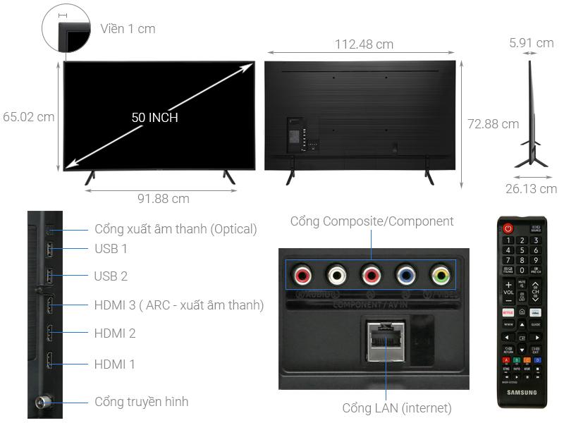 Thông số kỹ thuật Smart Tivi Samsung 4K 50 inch UA50RU7100