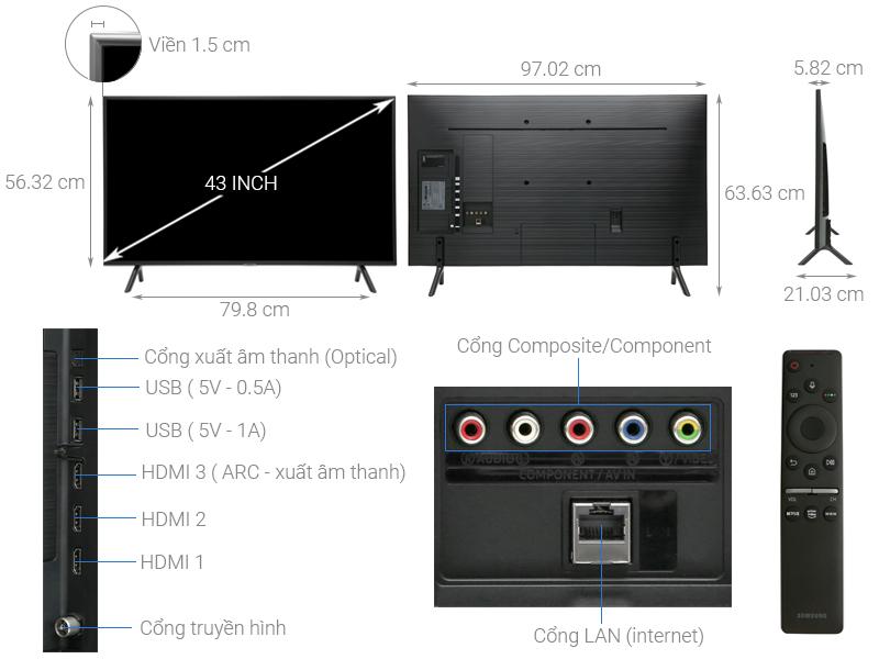 Thông số kỹ thuật Smart Tivi Samsung 4K 43 inch UA43RU7200