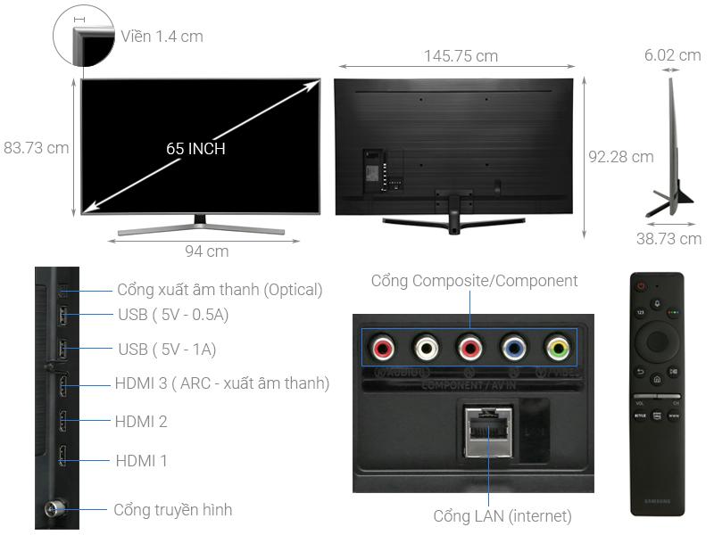 Thông số kỹ thuật Smart Tivi Samsung 4K 65 inch UA65RU7400