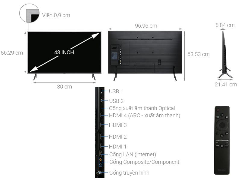 Thông số kỹ thuật Smart Tivi QLED Samsung 4K 43 inch QA43Q65R