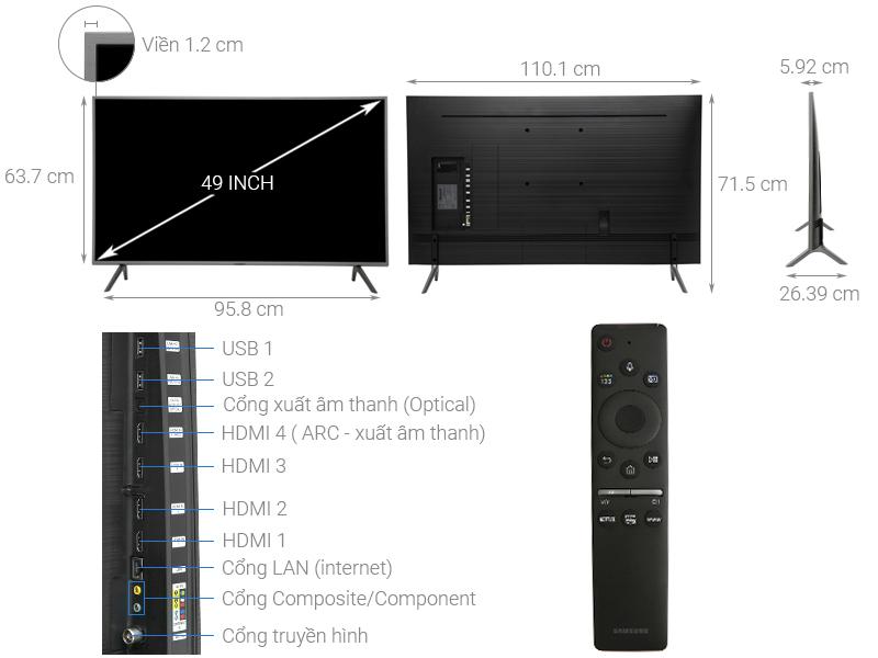 Thông số kỹ thuật Smart Tivi QLED Samsung 4K 49 inch QA49Q65R