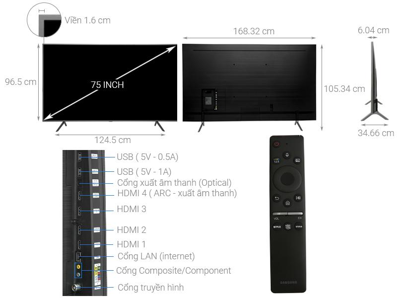 Thông số kỹ thuật Smart Tivi QLED Samsung 4K 75 inch QA75Q65R
