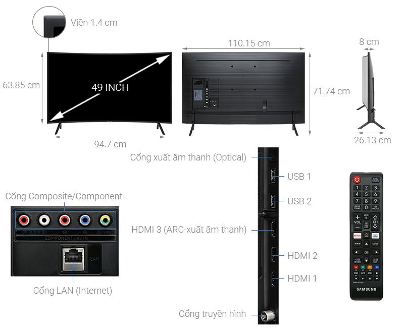 Thông số kỹ thuật Smart Tivi Samsung 4K 49 inch UA49RU7300