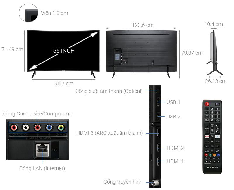 Thông số kỹ thuật Smart Tivi Samsung 4K 55 inch UA55RU7300