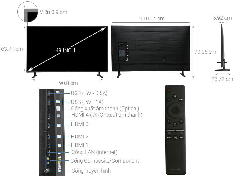 Thông số kỹ thuật Smart Tivi Samsung 4K 49 inch UA49RU8000