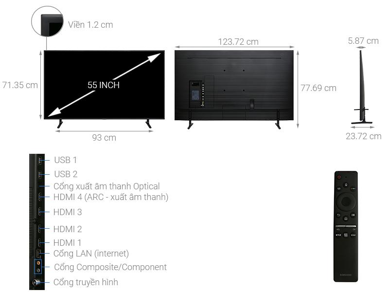 Thông số kỹ thuật Smart Tivi Samsung 4K 55 inch UA55RU8000