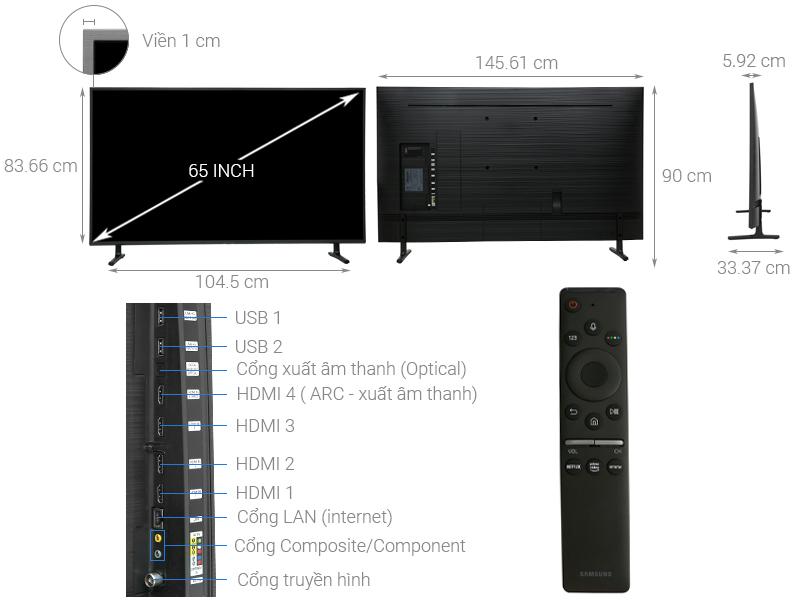 Thông số kỹ thuật Smart Tivi Samsung 4K 65 inch UA65RU8000