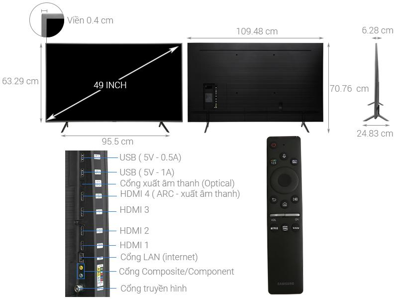 Thông số kỹ thuật Smart Tivi QLED Samsung 4K 49 inch QA49Q75R
