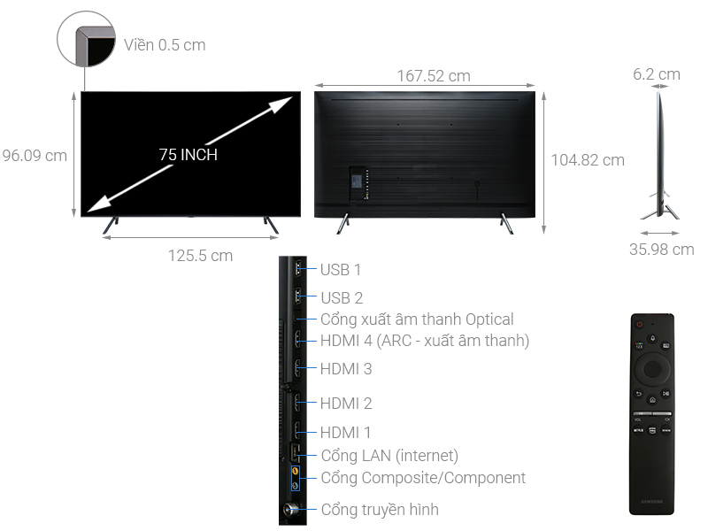 Thông số kỹ thuật Smart Tivi QLED Samsung 4K 75 inch QA75Q75R