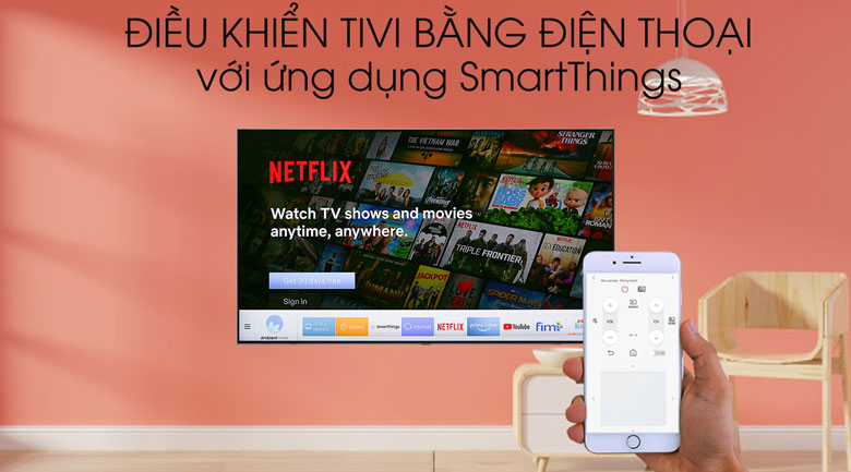 Smart Tivi QLED Samsung 4K 75 inch QA75Q75R - SmartThings