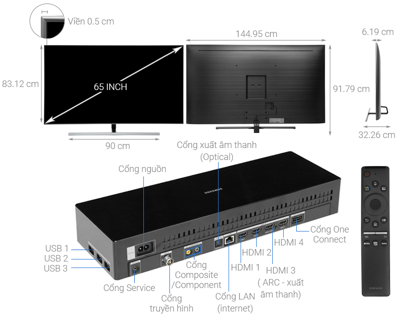 Thông số kỹ thuật Smart Tivi QLED Samsung 4K 65 inch QA65Q80R