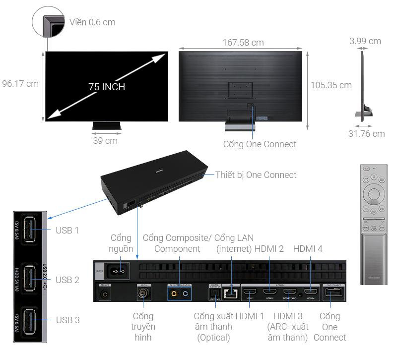 Thông số kỹ thuật Smart Tivi QLED Samsung 4K 75 inch QA75Q90R