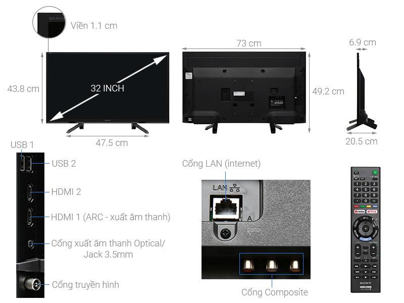 Thông số kỹ thuật Smart Tivi Sony 32 inch KDL-32W610G