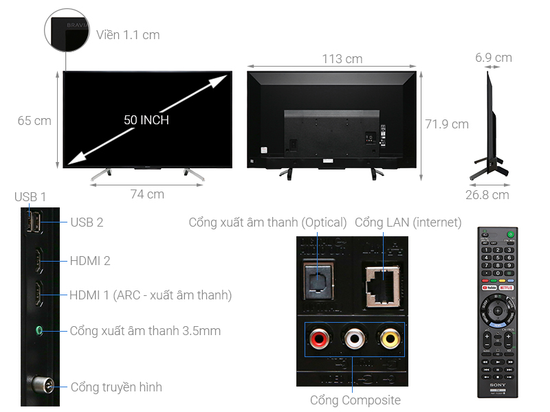 Thông số kỹ thuật Smart Tivi Sony 50 inch KDL-50W660G