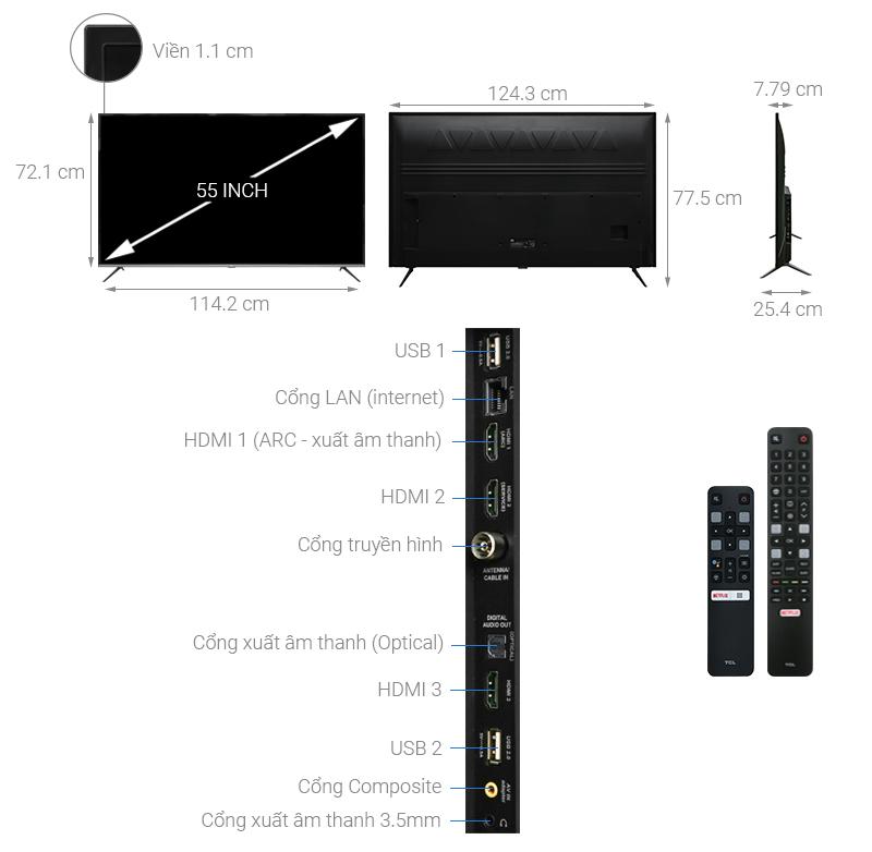 Thông số kỹ thuật Android Tivi TCL 4K 55 inch L55P8