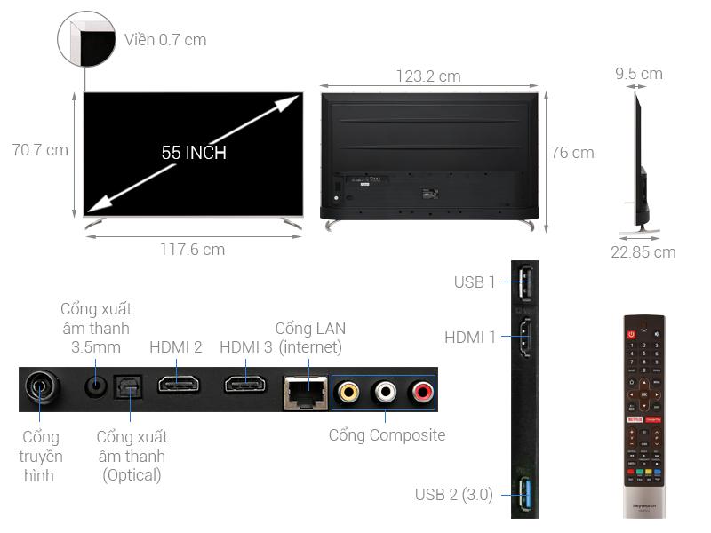 Thông số kỹ thuật Android Tivi Skyworth 4K 55 inch 55G2