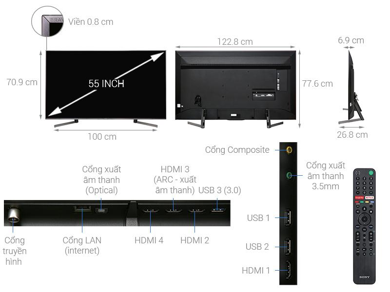 Thông số kỹ thuật Android Tivi Sony 4K 55 inch KD-55X9500G