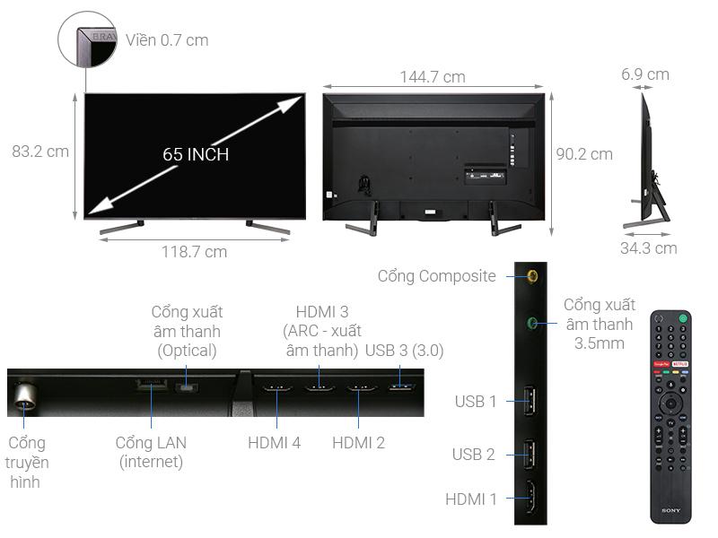 Thông số kỹ thuật Android Tivi Sony 4K 65 inch KD-65X9500G