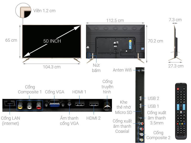 Thông số kỹ thuật Smart Tivi Asanzo 50 inch 50AS680
