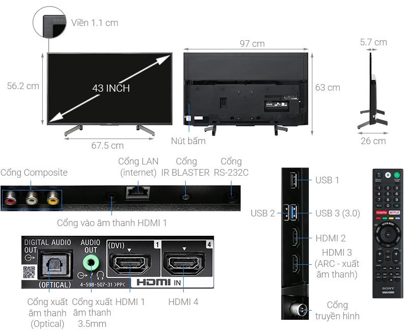 Thông số kỹ thuật Android Tivi Sony 4K 43 inch KD-43X8000G