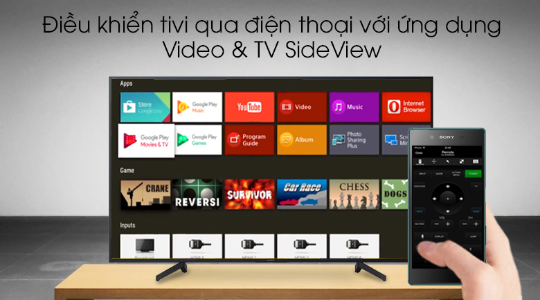 Android Tivi Sony 4K 43 inch KD-43X8000G - Video & TV SideView